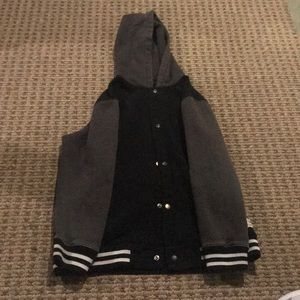 Vans grey and black hooded button up jacket